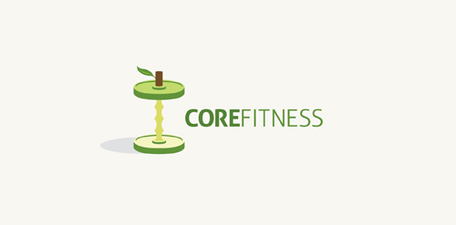 Fitness Logo Which Shows A Weightlifting Dumbbell Set Resembling An Apple Core Exercise Routines Help To Strengthen Your Muscles